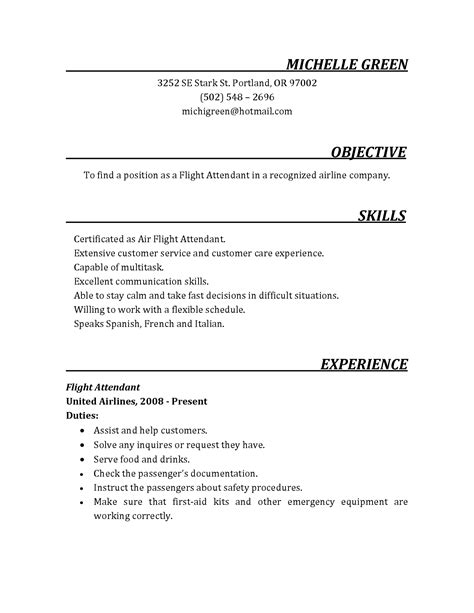 Sample cabin crew cv great sample resume png 1275x1650